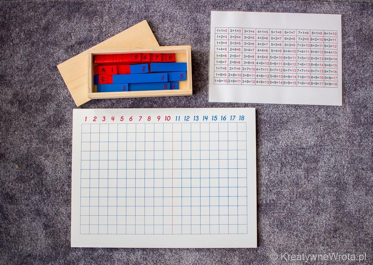 Montessori - tablica do nauki dodawnia